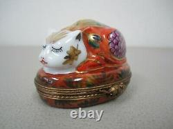 Limoges Asian Cat Imari Trinket Box Peint Main France