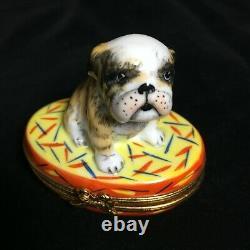 Limoges BULLDOG trinket box LTD ED Hand Painted Puppy Dog on Rug ARQUIE
