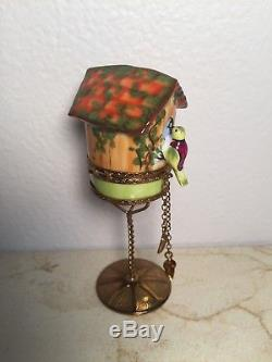 Limoges Box BIRD HOUSE Peint main France RARE VINTAGE Trinket Gift