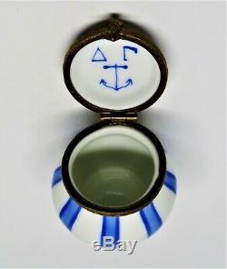 Limoges Box Delta Gamma Sorority Blue Anchor Symbol & Stripes