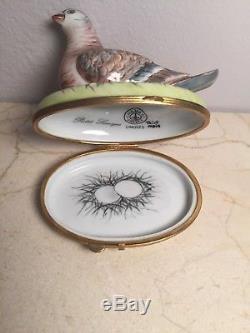 Limoges Box Exquisite CHAMART Bird Pigeon Peint Main France Vintage Rare