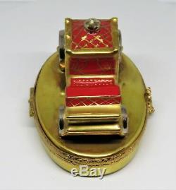 Limoges Box Fabergé Red Royal Coach & Coronation Egg Eagle Clasp Faberge