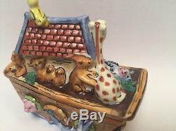 Limoges Box NOAH'S ARK Peint Main France Rare Vintage Trinket Box