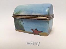 Limoges Box Ocean Themed Treasure Chest Peint Main Rare Vintage Trinket Box