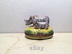 Limoges Box Rhinoceros Mom & Baby RHINO PARRY VIELLE PV Peint Main France