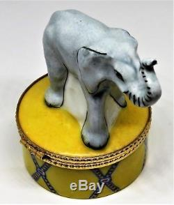 Limoges Box Tiffany & Co. African Elephant On A Circus Pedestal