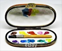 Limoges Box Watercolor Paint Set & Porcelain Brush Painter's Palette Clasp