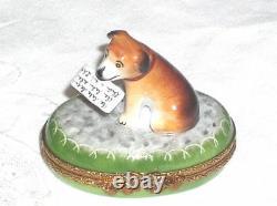 Limoges Brown Beagle Dog on Green Oval Trinket Box