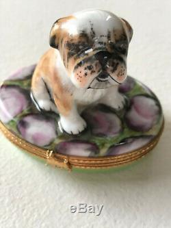 Limoges Bulldog Puppy on Trinket Box Pillbox, Hand Painted Original