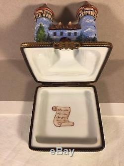 Limoges CASTLE Vintage Rare Trinket Box 8/500 Peint Main VERSAILLES Villa