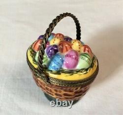 Limoges Charmart EASTER EGG Basket Colorful Trinket Box Peint Mein EXCELLENT