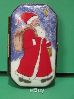 Limoges Christmas Trinket Box Santa Claus Merry Christmas