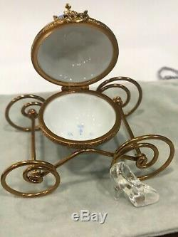 Limoges Cinderella Gold Carriage Box Glass Slipper Crown Clock Signed New