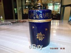Limoges Cobalt Blue Large Trinket Box
