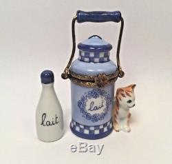 Limoges Cute KITTEN CAT with MILK PARRY VIEILLE Peint Main France Trinket Box