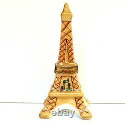 Limoges Eiffel Tower Paris Trinket Box Tan Porcelain Champagne Bottle France