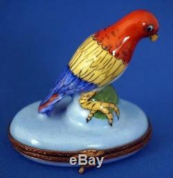 Limoges Enamel Trinket Box Bonbonniere Parrot Bird Macaw