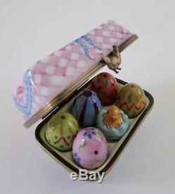 Limoges Eximious Peint Mein France Porcelain Easter Egg Carton Trinket Box