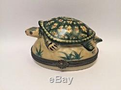 Limoges Fabulous TURTLE ROCHARD Peint Main France Vintage Rare Trinket Box