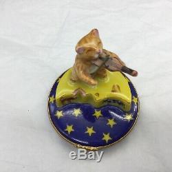 Limoges Fiddler Cat on the Moon Space Trinket Box Artoria Violin Figural Fiddle