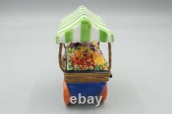 Limoges Flower Cart with Canopy Porcelain Trinket Box, Rochard, Peint Main, 2 1/2
