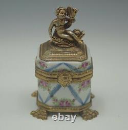Limoges France Antique Ormolu Porcelain Figural Cherub On Dolphin Inkwell Box