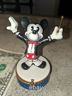 Limoges France Artoria Peint Main Disney Mickey Mouse Conductor Trinket Box