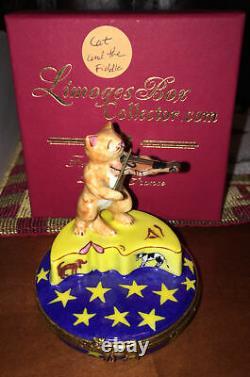Limoges France Artoria Peint Main Nursery Rhyme Cat & Fiddle Trinket Box No 377
