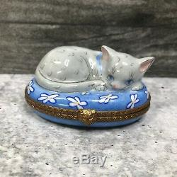 Limoges France Authentic Peint Main Porcelain Box Sleeping Cat & Mouse
