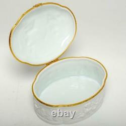Limoges France Bisque White Large Porcelain Jewel Box, Cherubs