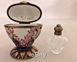 Limoges France Blue Floral Heart on Brass Stand Perfume Box (Retired)