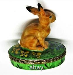 Limoges France Box- Brown Easter Bunny & Flowers -iris & Daffodil- Carrot Inside