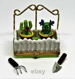 Limoges France Box Cactus Garden Picket Fence & Trellis Cacti In Pots