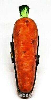 Limoges France Box Carrot & White Easter Bunny Rabbit Vegetables Peint Main
