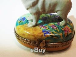 Limoges France Box Iris flowers Van Gogh Samoyed American Eskimo Spitz dog