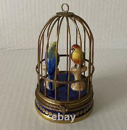 Limoges France Box Parry Vieille Pair Love Birds Parrots Cage Peint Main