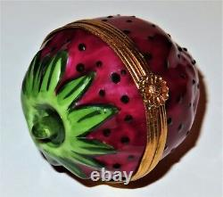 Limoges France Box Tiffany Red Strawberry & Stem Summer Fruits Peint Main
