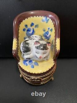 Limoges France Box -gr- Sleeping Kitten In Barrel Chair Blue Roses -cat- Kitty