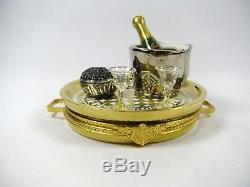 Limoges France Champagne & Caviar Tray For Two Porcelain Trinket Box by Sinclair