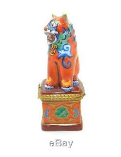 Limoges France Chinese Dragon Foo Dog Hand Painted Trinket Box Orange Blue