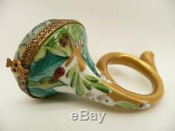 Limoges France Christmas Porcelain French Horn Trinket Box