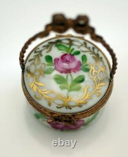 Limoges France Eximious Porcelain Basket With Handle Roses Pill Box