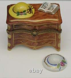 Limoges France Eximious Porcelain Chest Of Drawers With Hat Pill Box Larger