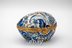 Limoges France Floral Egg Porcelain Box Trinket Jewlery France Handmade