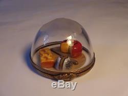 Limoges France GR French Domed Cheese Platter Trinket Box Peint Main Retired