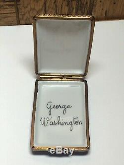 Limoges France George Washington Peint Main Trinket Box