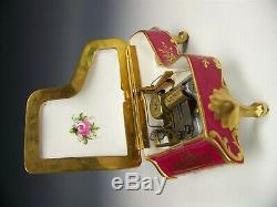 Limoges France H-painted 5 Trinket Piano Music Box Anniversary Song Works Great