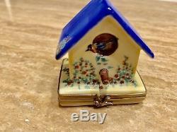 Limoges France Hand Painted Trinket Box Rochard BIRD HOUSE