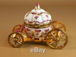 Limoges France Hinged Trinket Box, Cinderella Pumpkin Coach with Wheels, Slipper