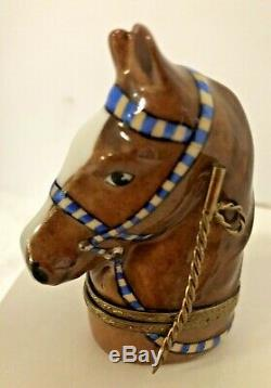 Limoges France Horse Head Trinket Box Riding Crop Clasp Equestrian Peint Main
